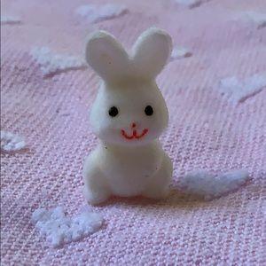 """1.5"""" flocked white Easter Bunny 🐰 decoration Vtg"""